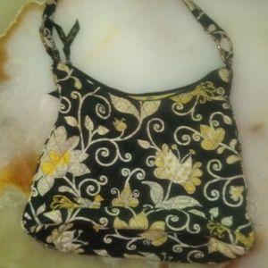 🐙black and yellow vera bradly purse